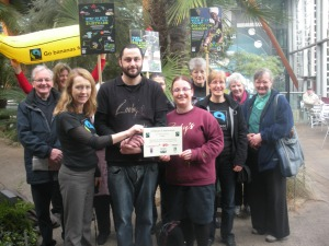 Presenting a Certificate of Affirmation to Zooby's, Winter Gardens
