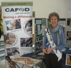 CAFOD volunteer Jenny Allen at the CAFOD stall in Sheffield Hallam University